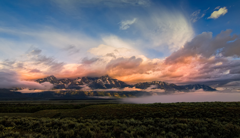 Fantastic clouds and light surrounded the Tetons on a beautiful morning in Wyoming.